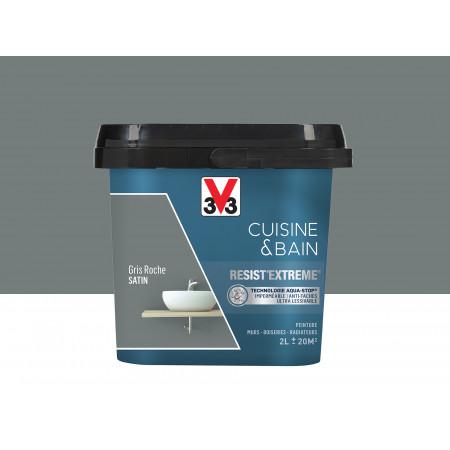 Peinture cuisine & sdb Resist'Extême Satin V33 Gris roche 2L