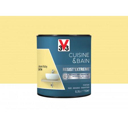 Peinture cuisine & sdb Resist'Extême Satin V33 Jaune Vichy 0,5L