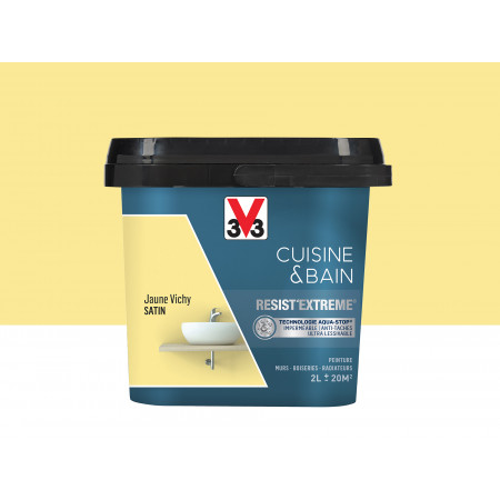 Peinture cuisine & sdb Resist'Extême Satin V33 Jaune Vichy 2L
