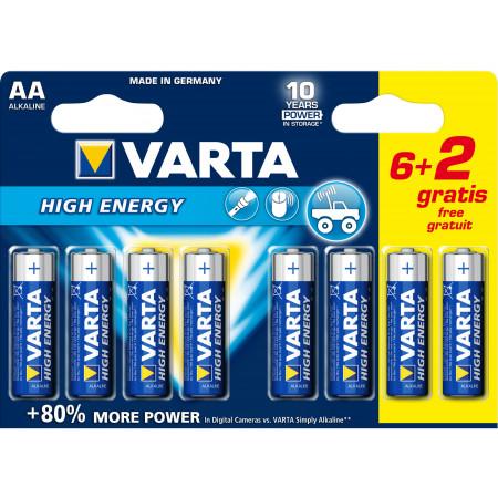 Piles High Energy LR6/AA 6 + 2 GRATUITES