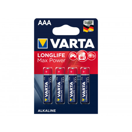 Piles alcalines VARTA LONGLIFE MAX POWER LR03-AAA x4