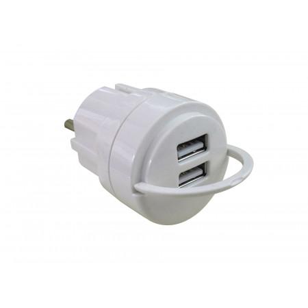 Adaptateur 2 USB blanc