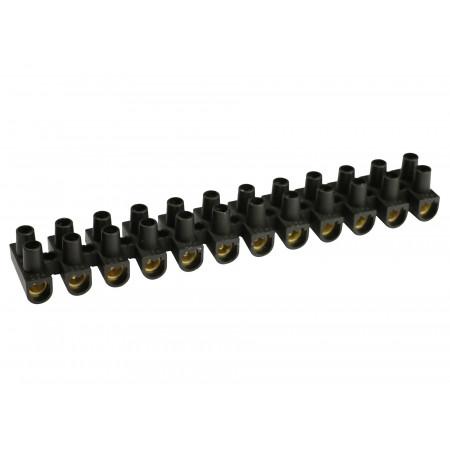 Barrette de connexion 16mm² noir 12 plots