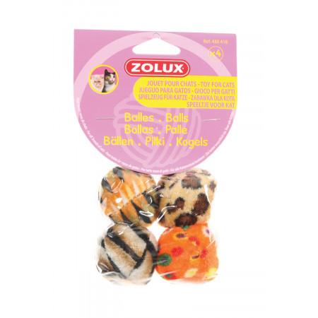 Balles pour chat multicolores x4