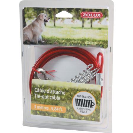 Câble d'attache pour chien avec ressort 3m