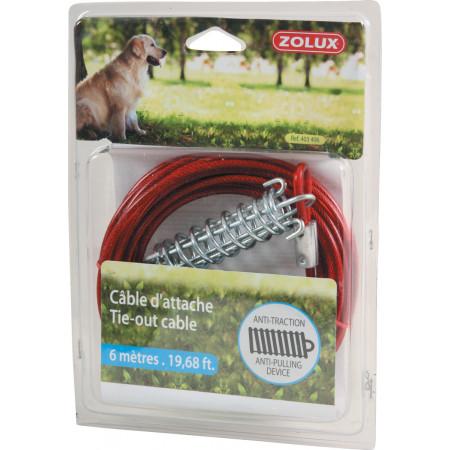 Câble d'attache pour chien avec ressort 6m