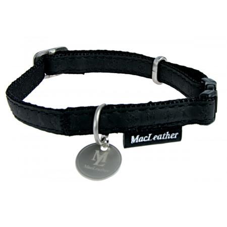 Collier cuir avec médaille 10 mm noir
