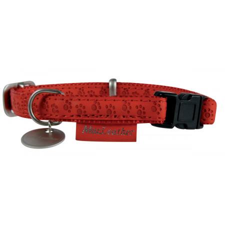 Collier cuir avec médaille 25mm rouge