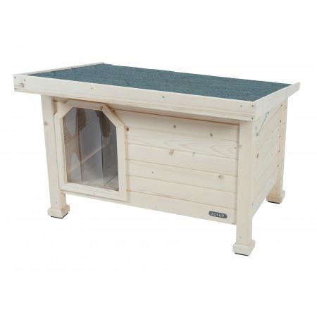 Niche toit plat en bois chien moyen