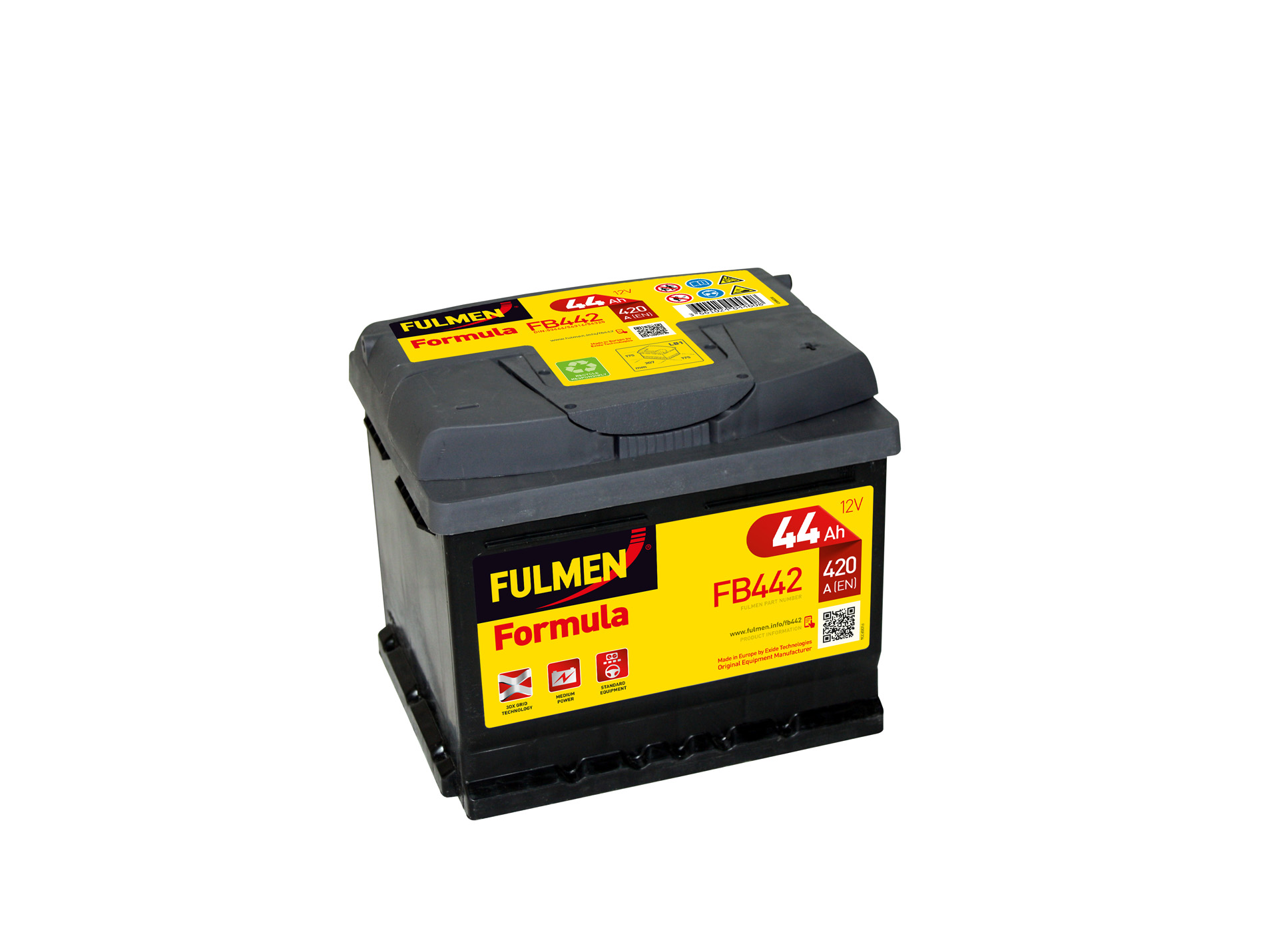 batterie fulmen formula fb442 12v 44ah 420a d batterie auto remorques entretien auto. Black Bedroom Furniture Sets. Home Design Ideas