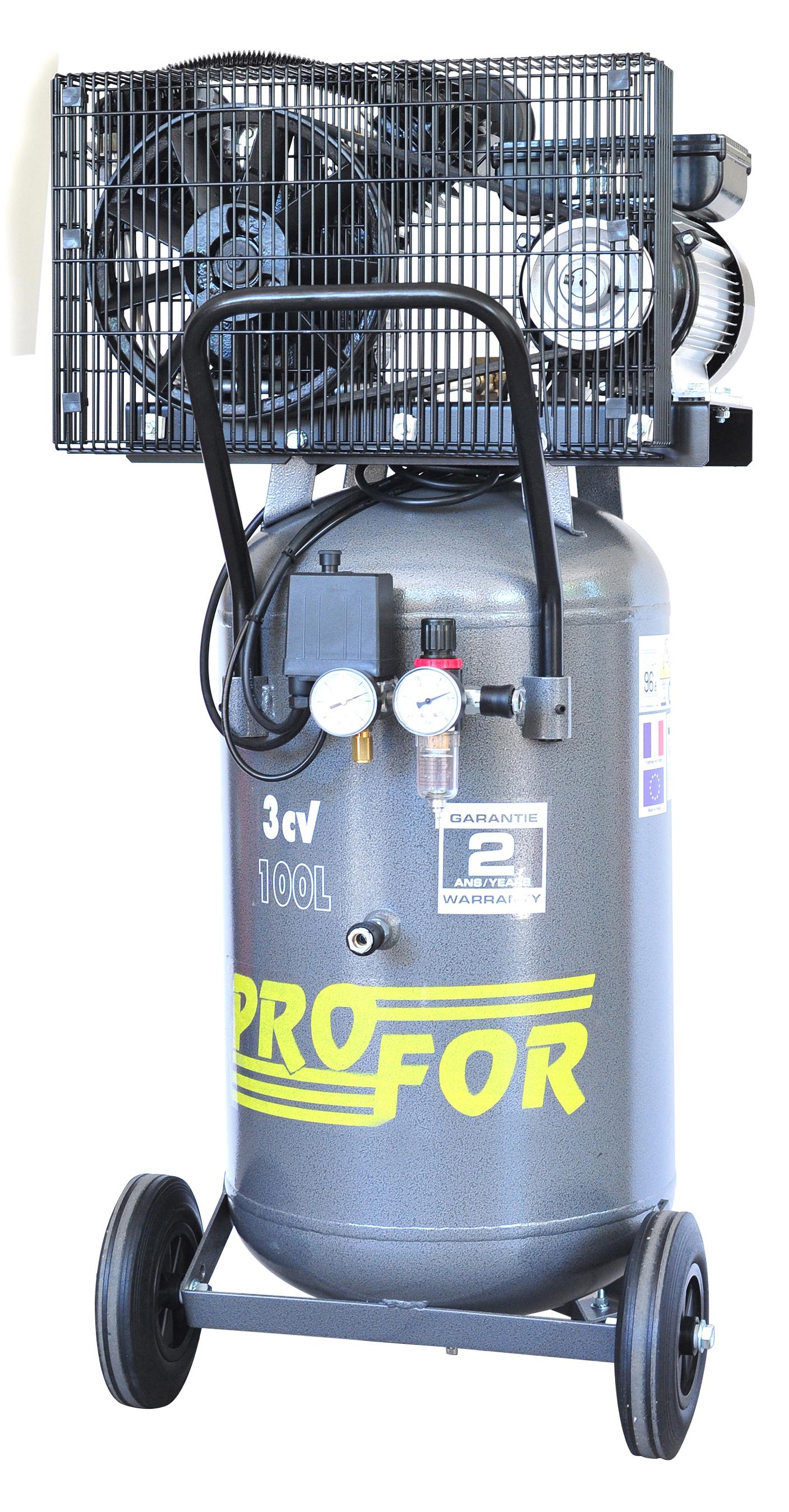 compresseur vertical  u00e0 courroie bi-cylindre 100l 3 cv