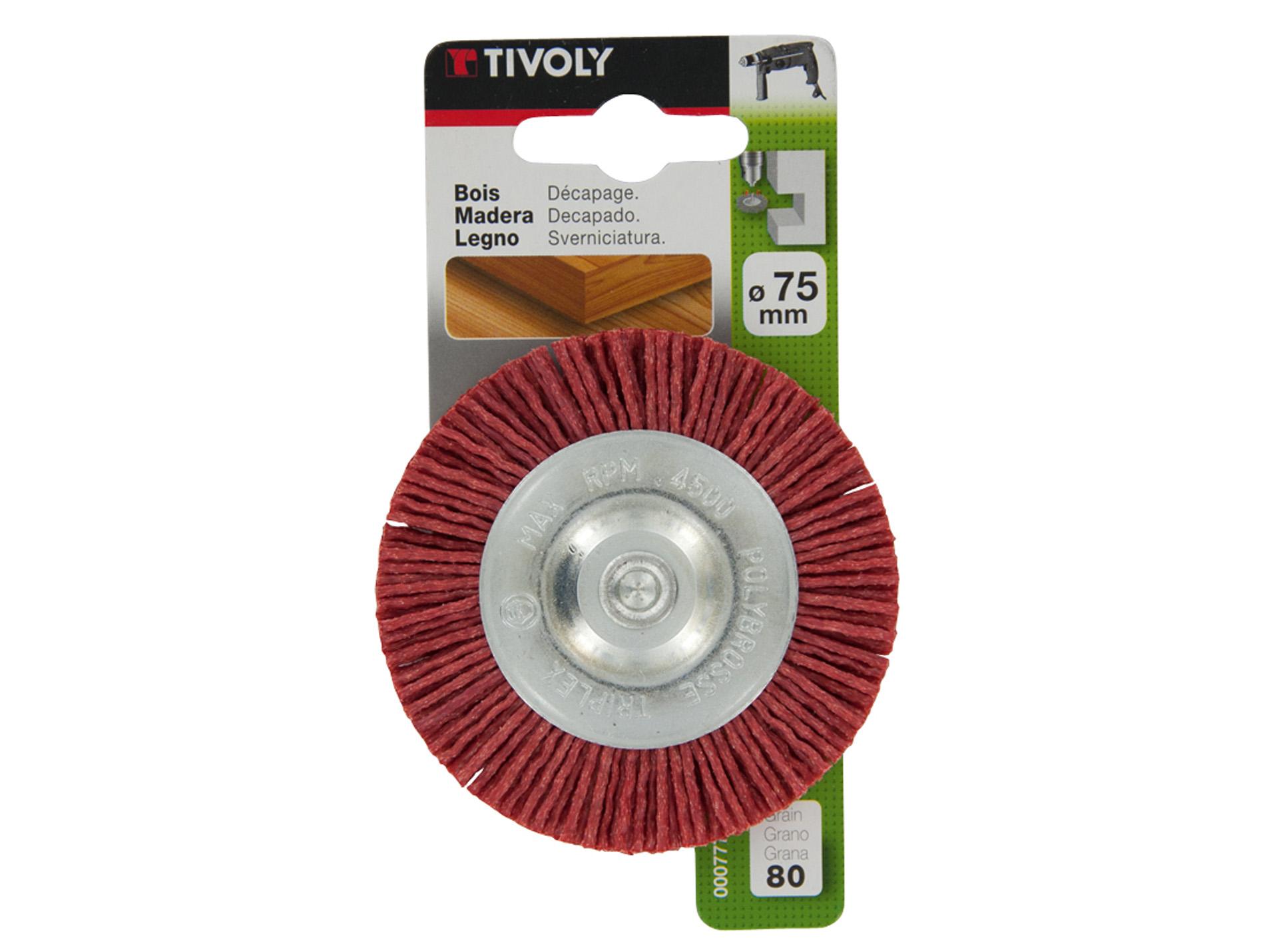 brosse circulaire fil nylon rouge 75mm tivoly. Black Bedroom Furniture Sets. Home Design Ideas