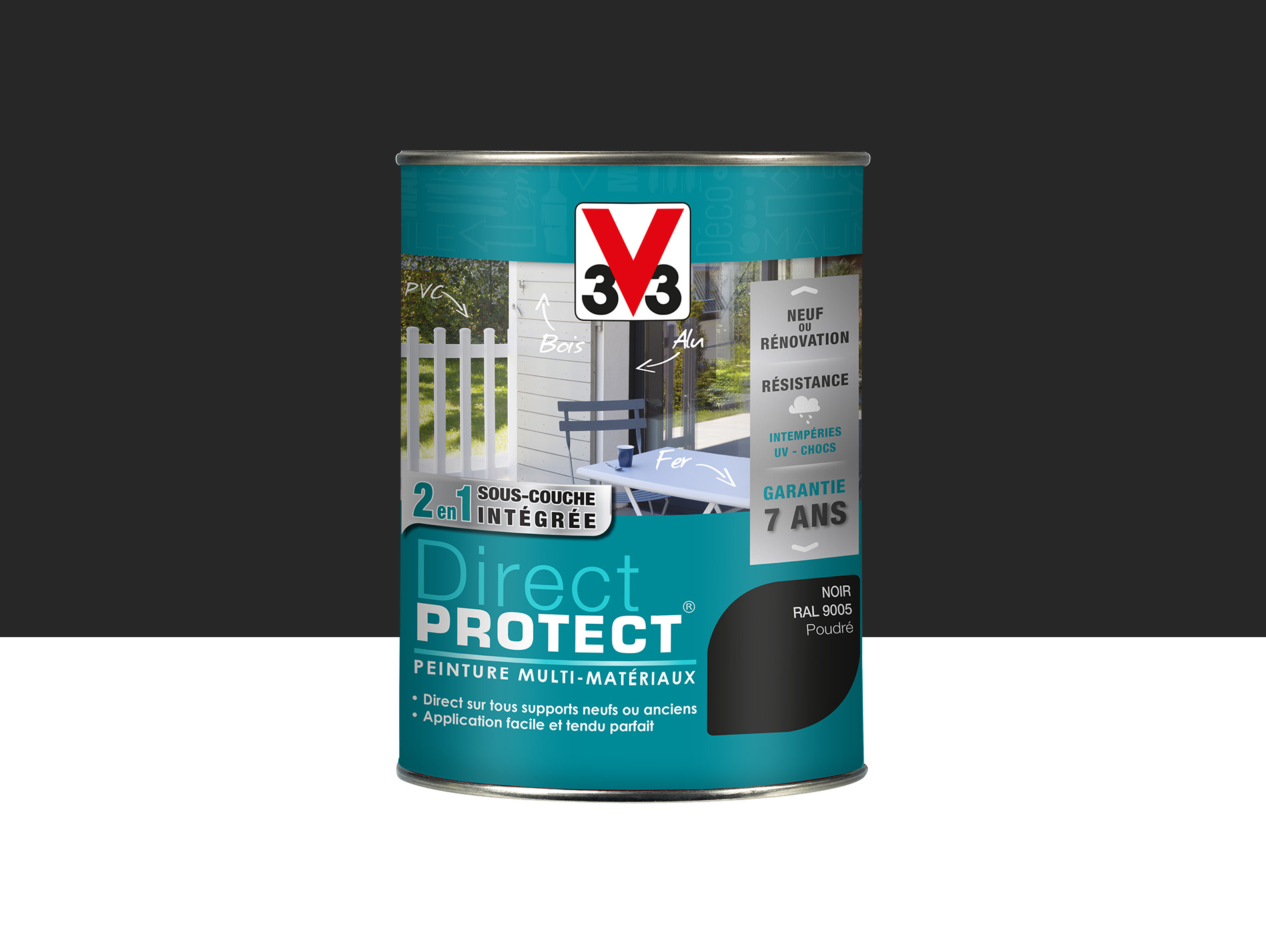 Peinture Direct Protect V33 Poudré Noir 15l