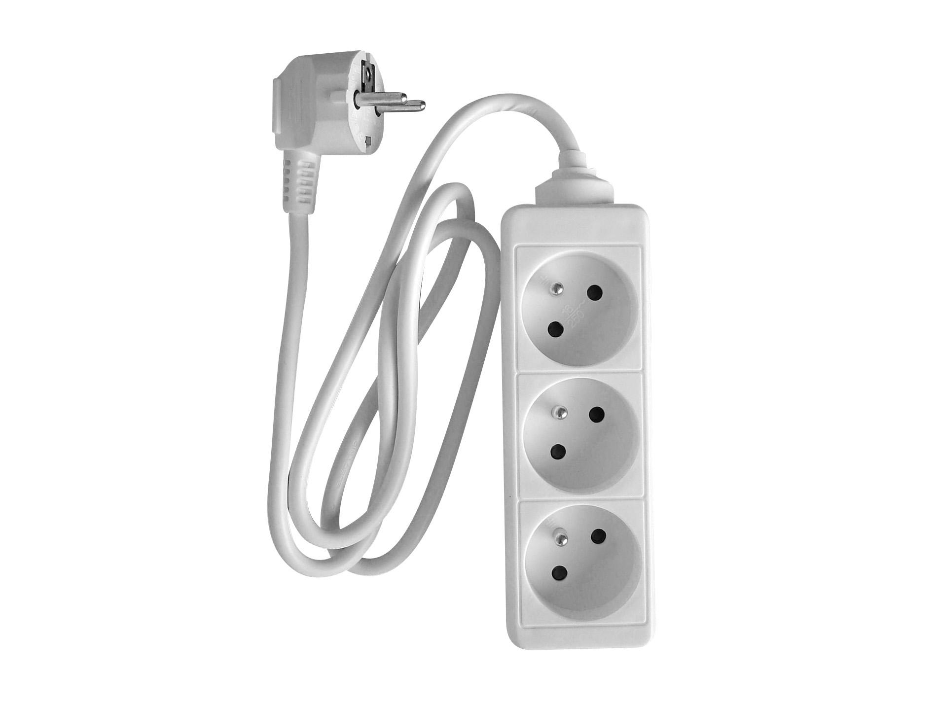 bloc 3 prises 16a blanc rallonge enrouleur fiche multiprise electricit et clairage. Black Bedroom Furniture Sets. Home Design Ideas