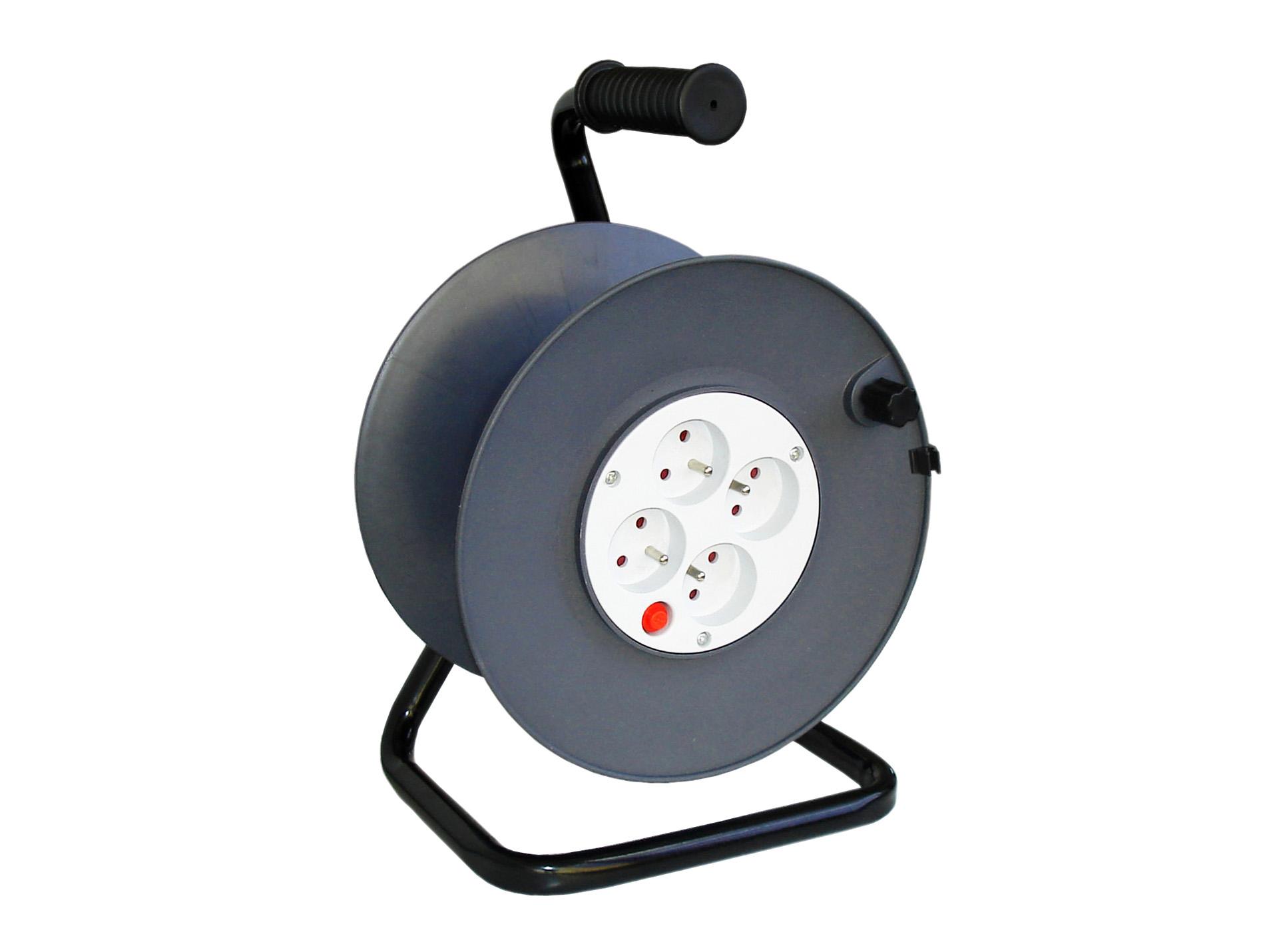 enrouleur c ble lectrique vide 4 prises coupe circuit rallonge enrouleur fiche. Black Bedroom Furniture Sets. Home Design Ideas