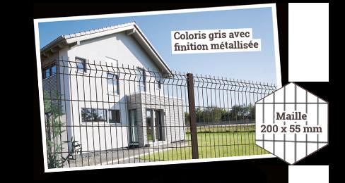 Panneau de clôture rigide L 2 m H 1 m Eco Plus - Coloris gris avec finition métallisée