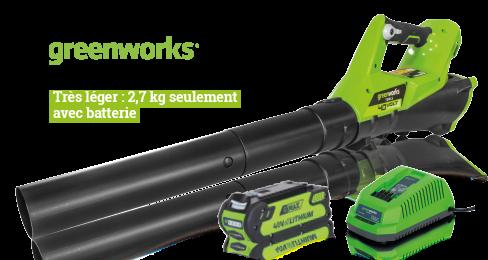 Souffleur 40 V + batterie 2 Ah Li-ion + chargeur, très léger : 2,7kg seulement avec batterie