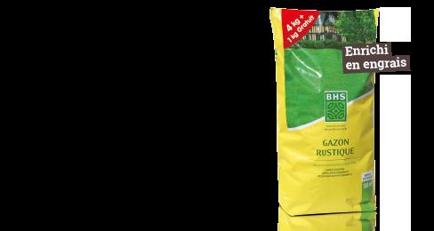 Gazon rustique 4 kg + 1 kg GRATUIT - Enrichi en engrais